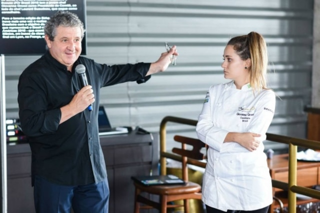 O chef Laurent Suaudeau e a nova presidente do Bocuse D'Or Brasil a chef alagoana Giovanna Grossi