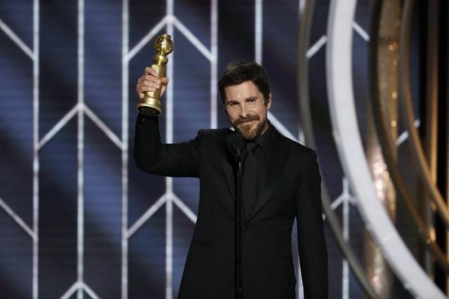 O ator Christian Bale no Globo de Ouro em 2019.