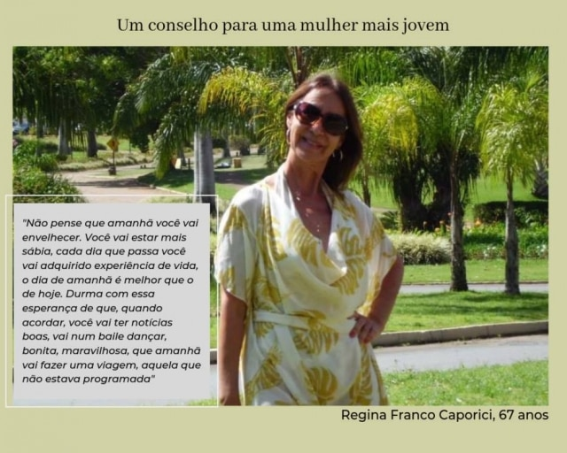 Regina Franco Caporici teve três filhos, o último aos 41 anos.