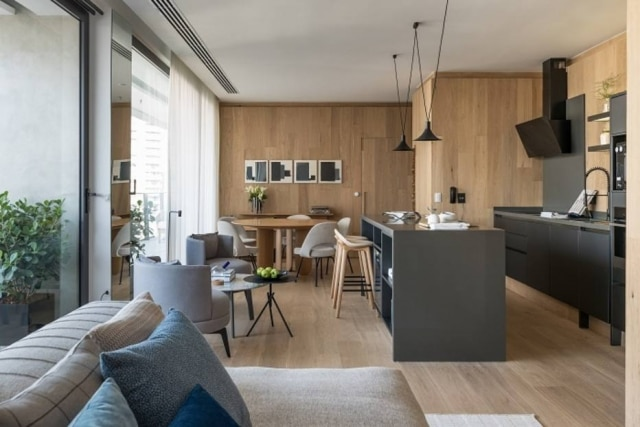 Área central doi desenhada para funcionar como coração da casa.