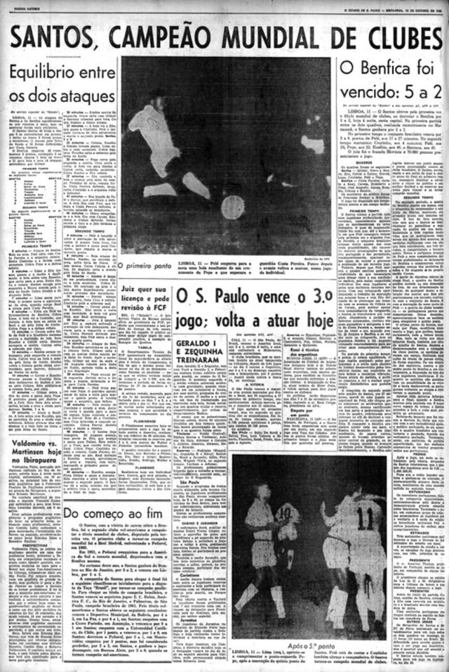 Santos campeão mundial nojornal de 12/10/1962