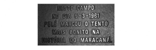 Placa idealizada por Joelmir Beting para lembrar o gol de Pelé