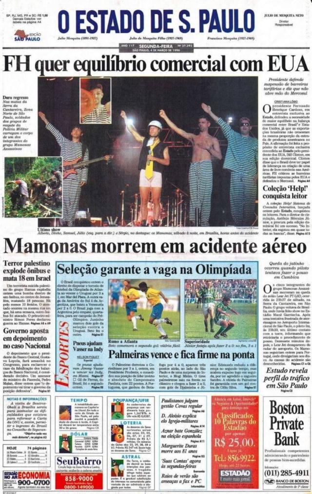 Morte dos Mamonas Assassinasna capa do Estadão em 4/3/1996