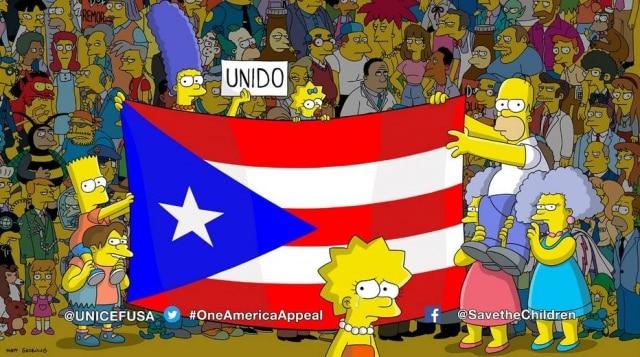 No fim de episódio, 'Os Simpsons' pediu ajuda a famílias afetadas pelo furacão Maria em Porto Rico.