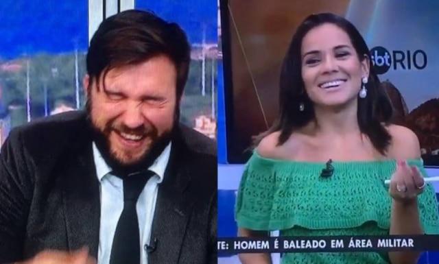 Isabele Benito e Marcelo Carregosa não contiveram a risada no estúdio