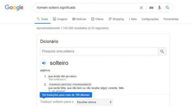 Resultado da busca pelo termo 'homem solteiro significado' no Google