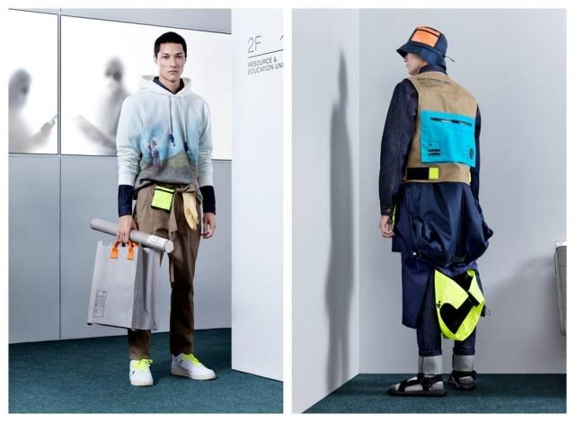 Looks da marca Piet, que mixa streewear esportivocom roupas utilitárias inspiradas em workwear na coleção batizada Atmosphere