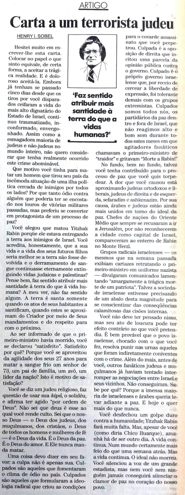 Texto deHenry Sobel sobre morte de Yitzhak Rabinem 1995.