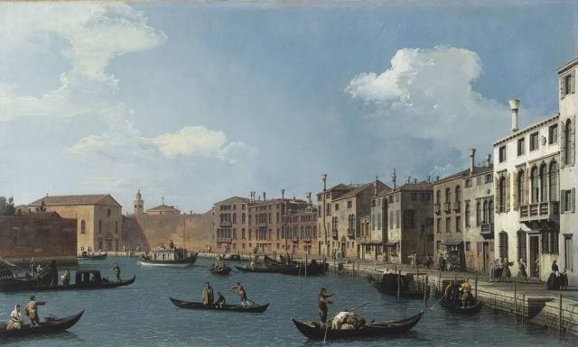 Vista do Canal de Santa Chiara, Veneza, de Canaletto. Museu Cognacq-Jay