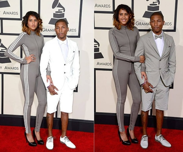 Pharrell Williams e sua esposa Helen Lasichanh no tapete vermelho do Grammy 2015