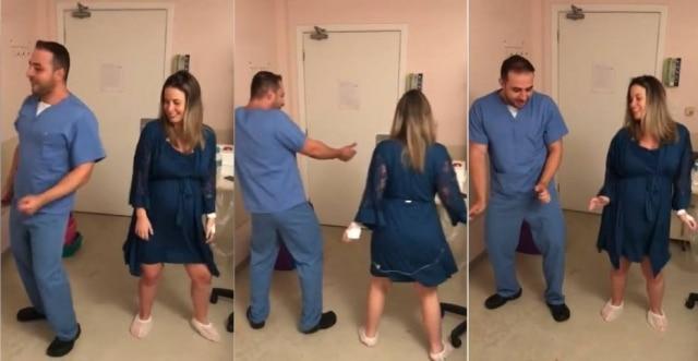 Paciente e médico dançando 'Paradinha', da Anitta.