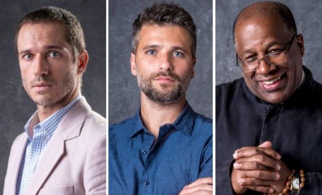 O médico José Aranha (Paulo Rocha), o padre Ramiro (Ailton Graça) ou Gabriel (Bruno Gagliasso), personagens de 'O Sétimo Guardião'.