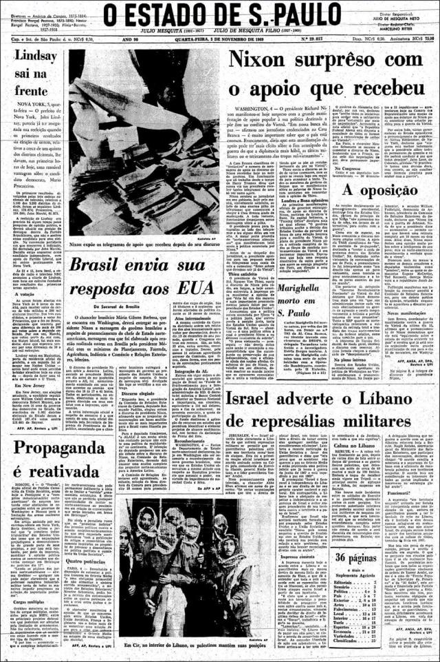 O Estado de S.Paulo - 05/11/1969. Cliqueaquipara ver a capa