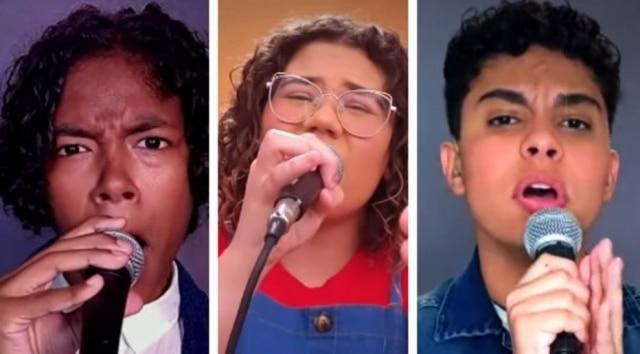 Kauê Penna, Maria Eduarda Ribeiro e Paulo Gomiz, finalistas do 'The Voice Kids' em 2020