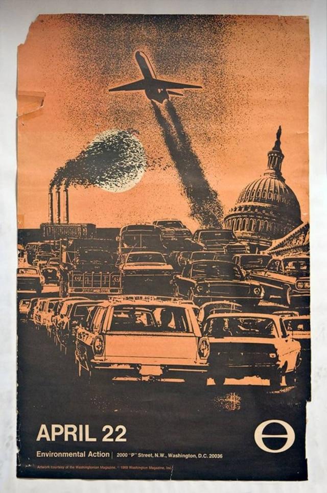 Reprodução de cartaz do 1º Dia da Terra em 1970.