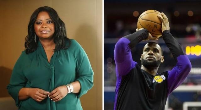 A atrizOctavia Spencer e o jogador de basquete LeBron James.