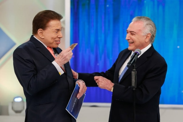 Silvio Santos recebe o então presidente Michel Temer no 'Programa Silvio Santos', em gravação realizada em 18 de janeiro de 2018.