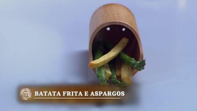 Aspargos com batatas fritas, prato de Eduardo R. no 9º episódio da6ª temporada do 'MasterChef Brasil'