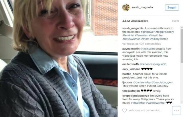 Jovem filmou mãe emocionada por votar em uma mulher para a Presidência dos Estados Unidos