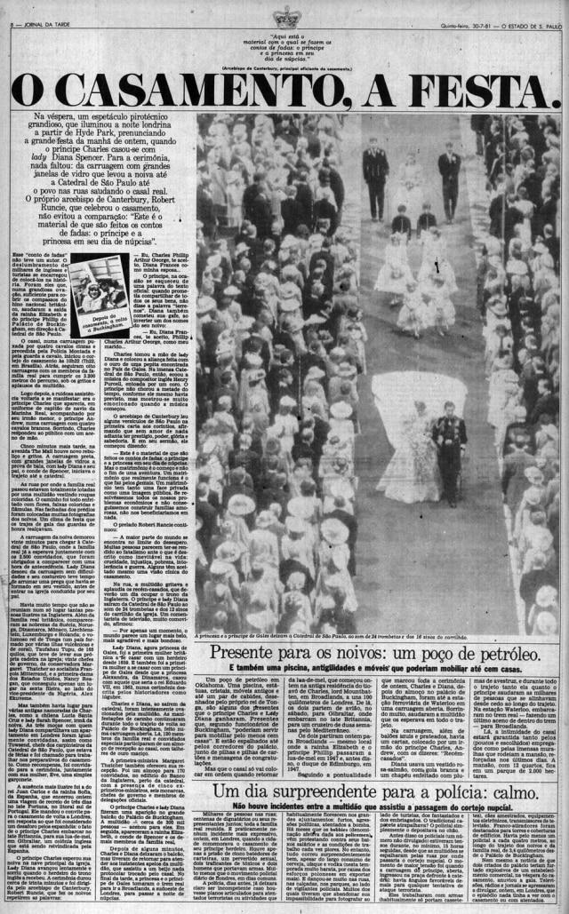 Cobertura do casamentodo príncipe Charles e princesa Diana noJornal da Tarde, 30/7/1981