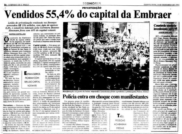 Privatização da Embraerna edição de 8/12/1994.