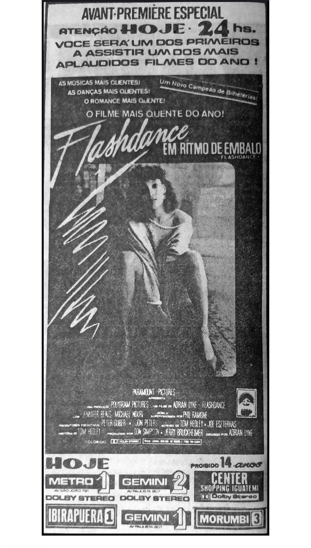 Cartaz de Flashdance, publicado no Estadão de 06/8/1983