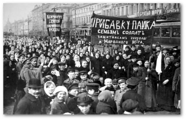 Mobilização do Dia Internacional da Mulher em São Petersburgo, Rússia, 08/3/1917.