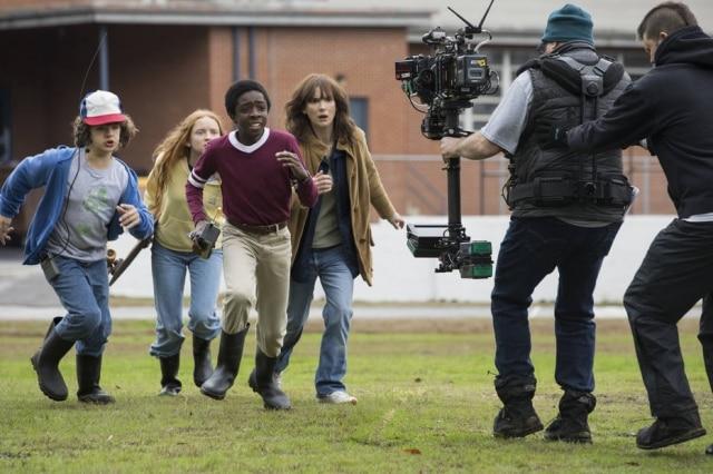 Gravação de cena da segunda temporada de 'Stranger Things'