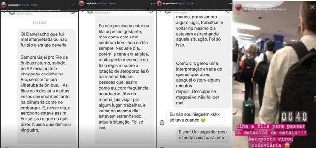 Ticiane Pinheiro explicou a situação a um seguidor e compartilhou a conversa pelos stories do Instagram.