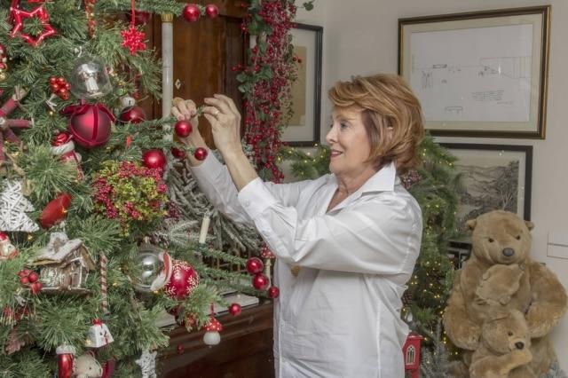Em sua casa, a especialista em montagem de mesas e arranjos decorativos, Amelinha Amaro, monta a árvore, um dos itens que compõe a decoração da sua casa para o Natal.