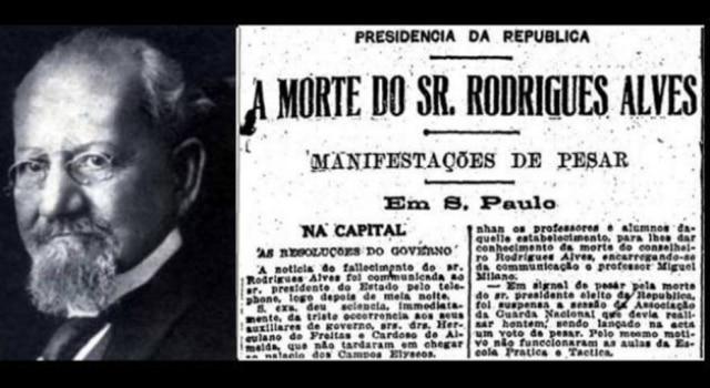 Rodrigues Alves foi o primeiro presidente reeleito para um novo mandato, mas morreu antes de tomar posse.