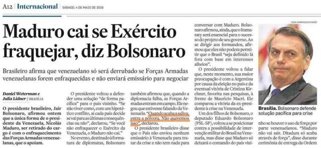 """Notícia com a frase""""Quando acaba a saliva, entra a pólvora"""" proferida por Bolsonaro durantecrise na Venezuela"""