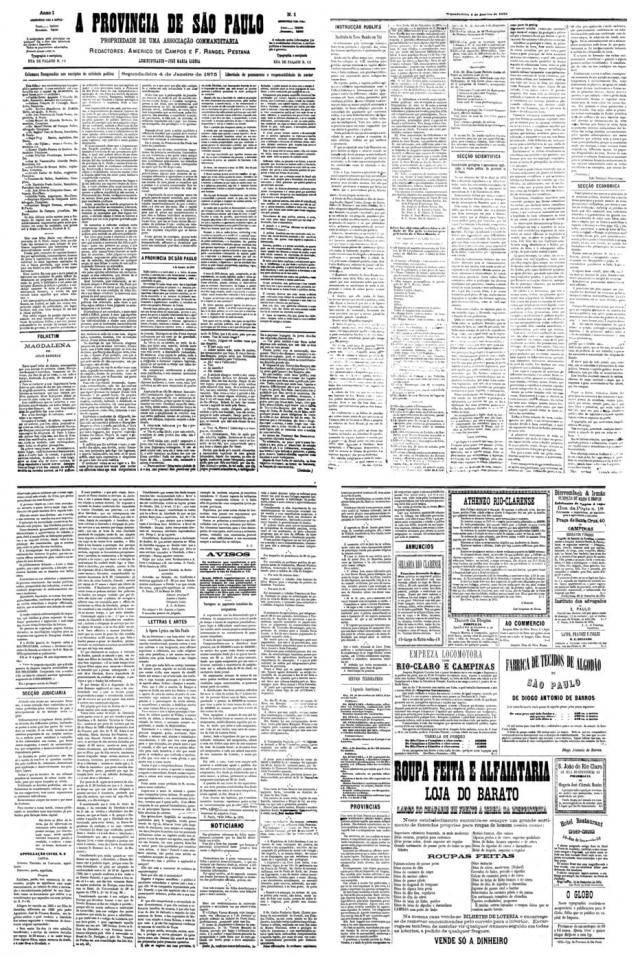 Primeira edição da 'A Provincia de São Paulo',publicada em 4/1/1875