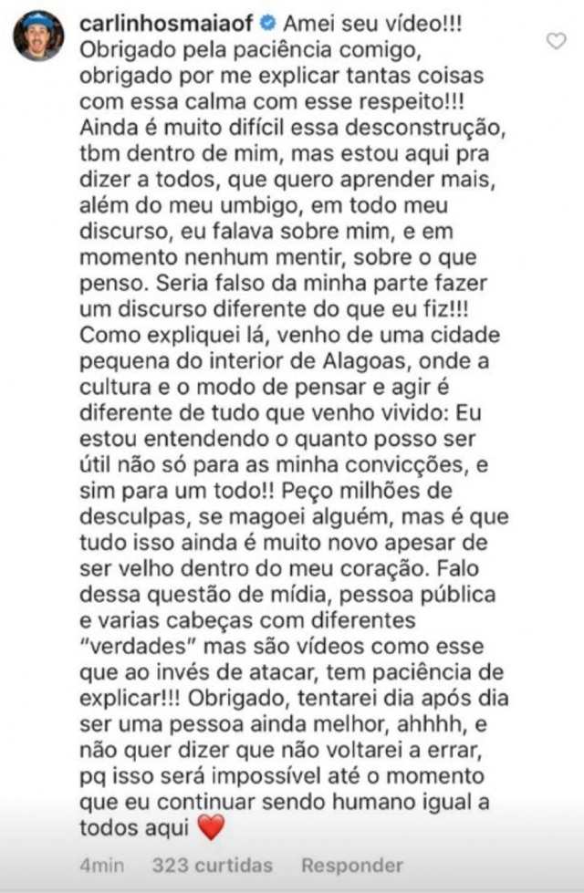Resposta de Carlinhos Maia ao vídeo do Quebrando o Tabu.