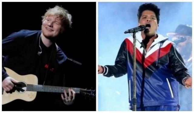 Os músicosEd Sheeran e Bruno Mars.