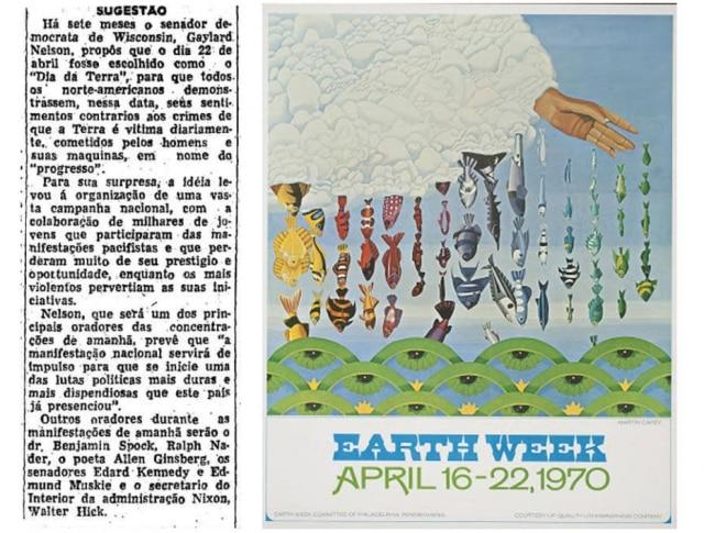 > Estadão - 22/4/1970Reprodução decartaz do1º Dia da Terraem 1970.