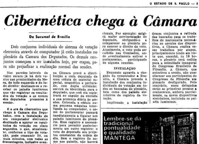 Cibernética chega à Câmaraem 1972