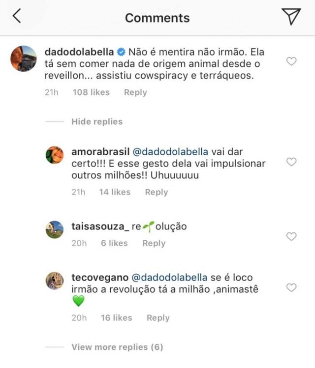 Dado Dolabella também confirmou que Anitta entrou para o veganismo.