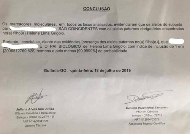 Comprovação de DNA da filha de Rafaela Silva.