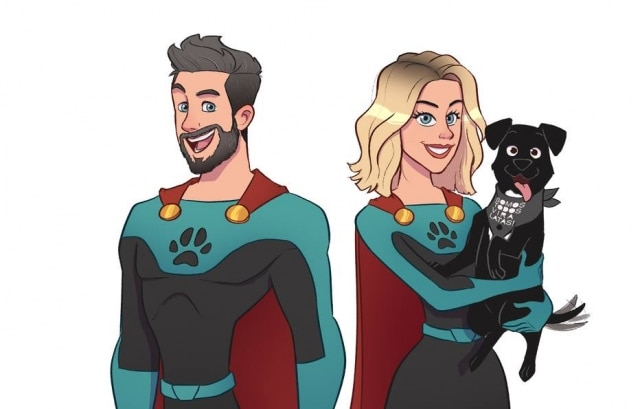 Bruno Gagliasso e Giovanna Ewbank são os super-heróis protetores dos cães no calendário da Ampara Animal.