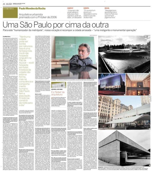 Entrevista com o arquiteto publicada em 16 de abril de 2006
