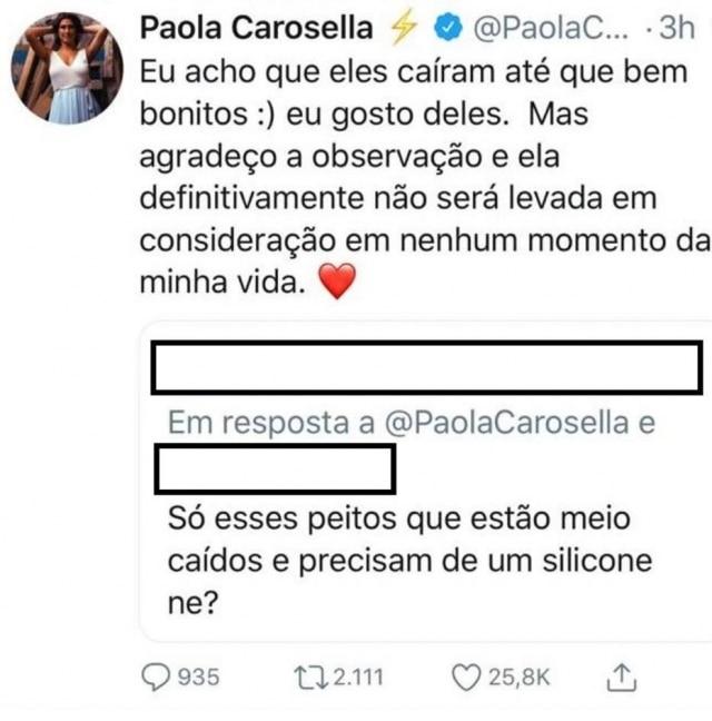 Paola Carosella rebateu crítica aos seus seios e recebeu apoio de internautas.