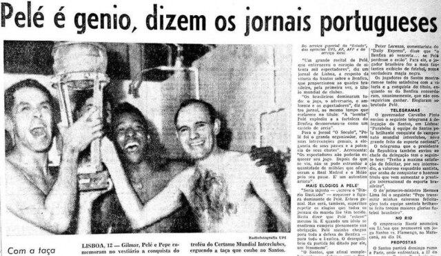 Gilmar, Pelé e Pepecomemoram o título mundialem Lisboa