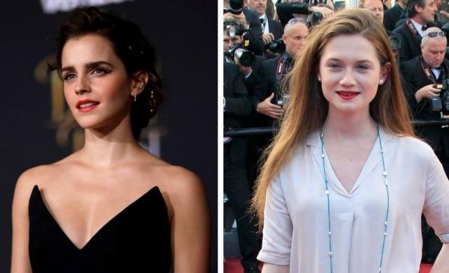 As atrizes Emma Watson e Bonnie Wright, intérpretes de 'Hermione' e 'Gina Weasley' nos filmes 'Harry Potter'.