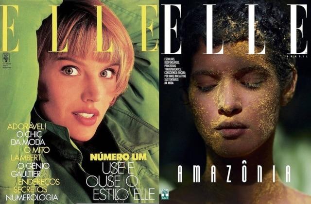 A primeira capa da 'Elle Brasil', em 1988, e a última, em 2018