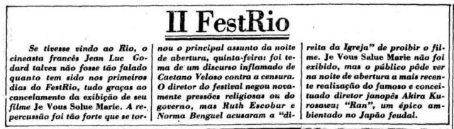 O Estado de S. Paulo - 23/11/1985