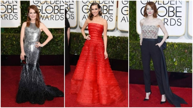 Julianne Moore, Allison Williams e Emma Stone no Globo de Ouro 2015