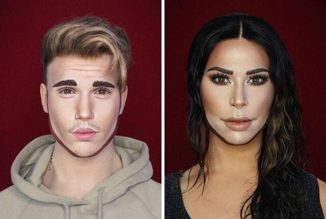 Drag queen transformada em Kim Kardashian e Justin Bieber