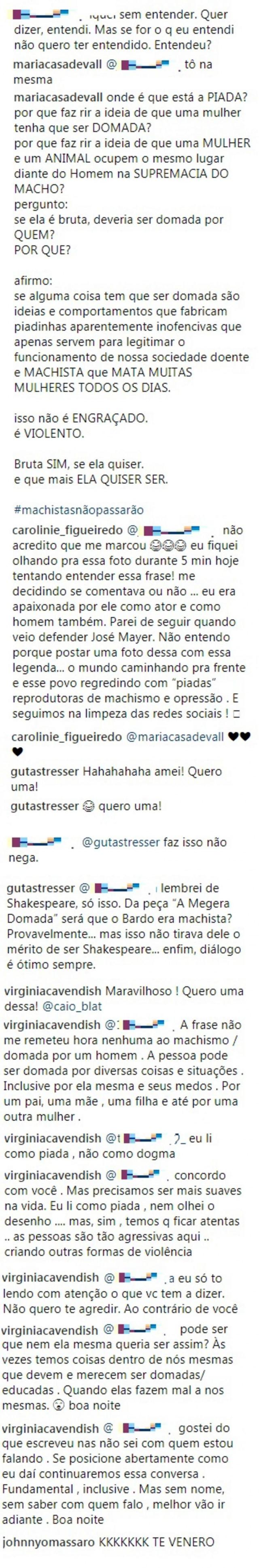 Comentários feitos no Instagram de Caio Blat.
