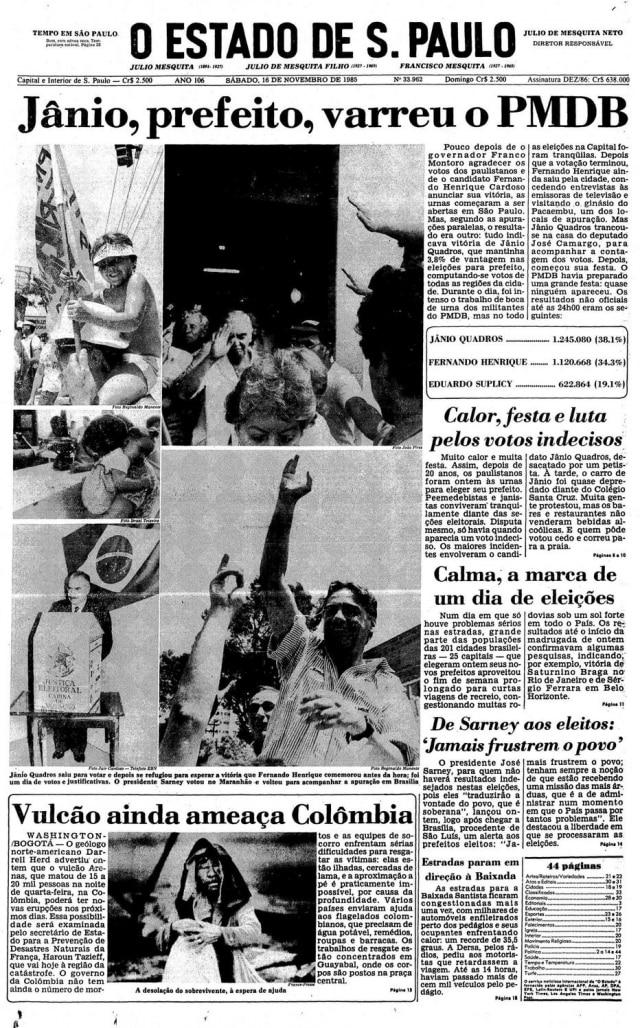 > Estadão - 16/11/1985
